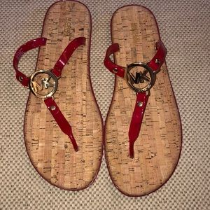 Michael Kors red thong jelly sandals